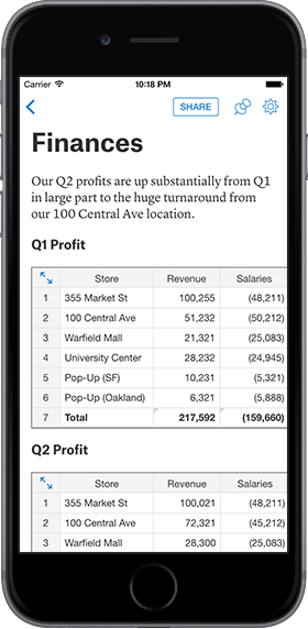 Quip iPhone Spreadsheets