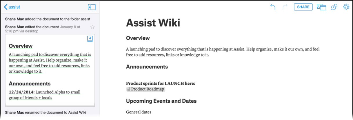 assists wiki homepage has a simple layout and is easy for a new hire to jump into