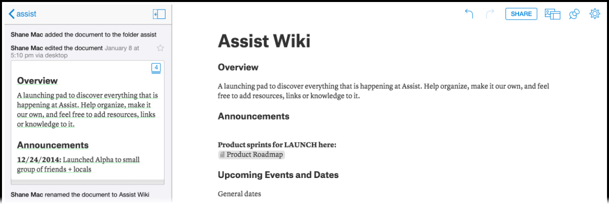 assists wiki document