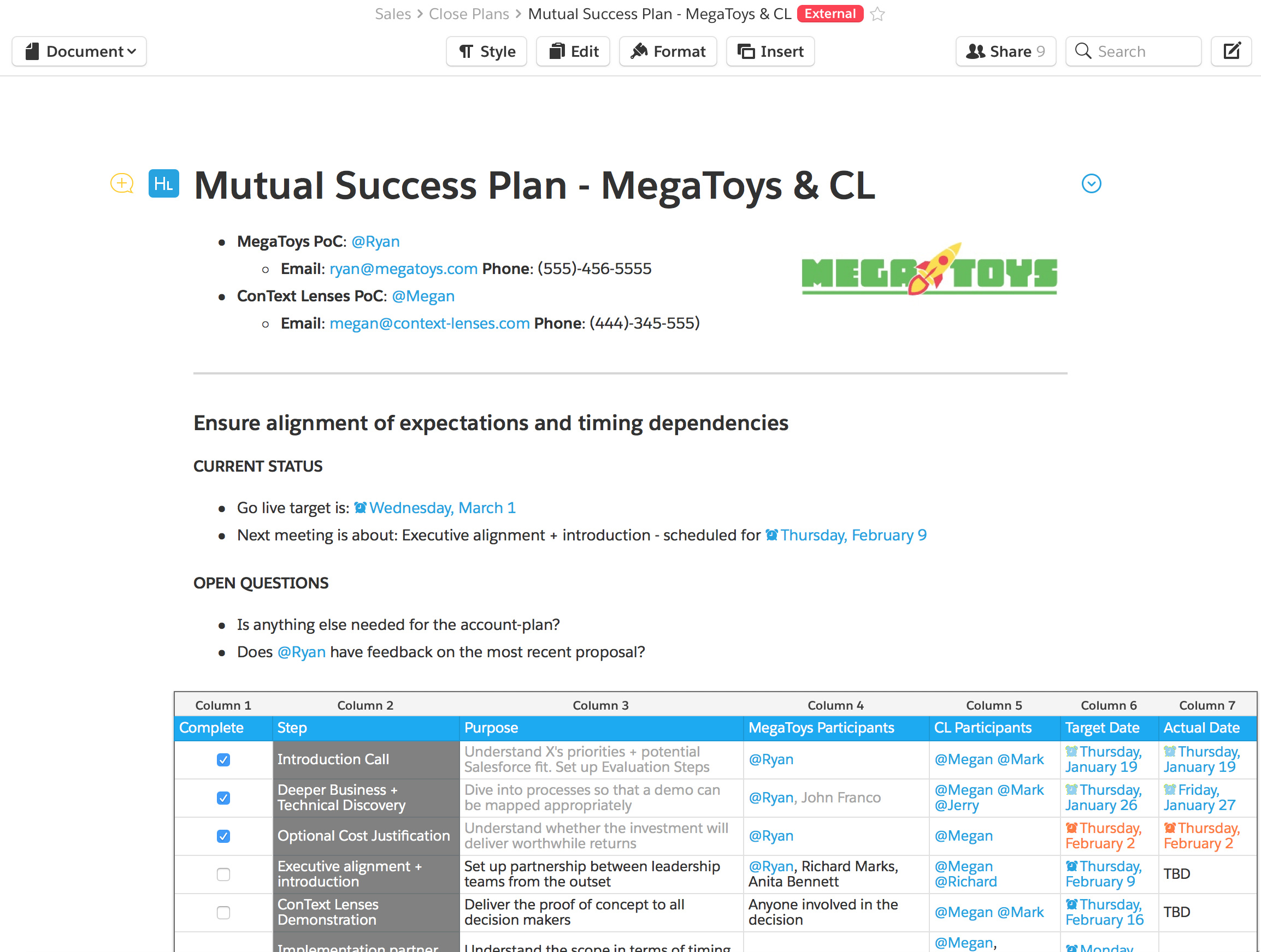 sales close plan template Quip for Sales Teams